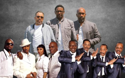 Atlantic Starr, The Dramatics, and The Manhattans posing for concert promotion.