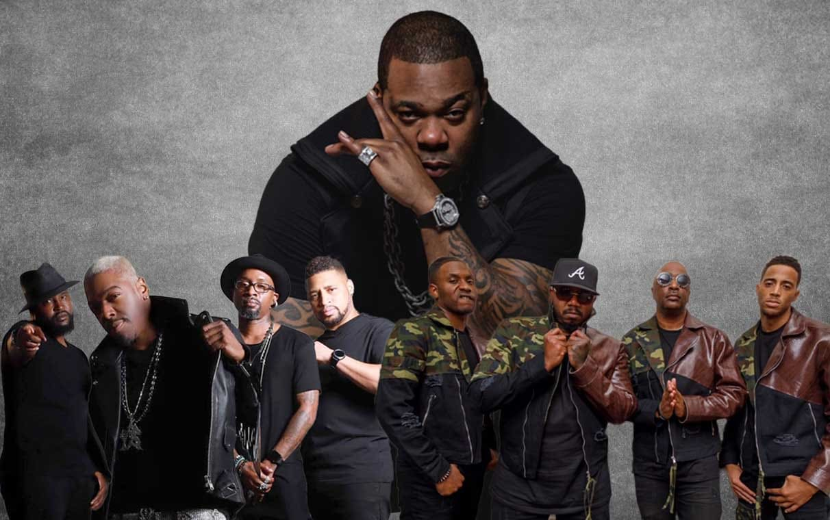 Busta Rhymes, 112, and Dru Hill posing for concert promotion.